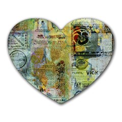 Old Newspaper And Gold Acryl Painting Collage Heart Mousepads by EDDArt