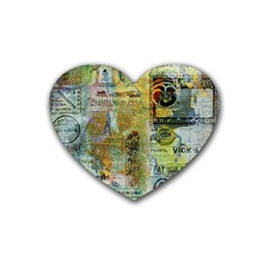 Old Newspaper And Gold Acryl Painting Collage Heart Coaster (4 Pack)  by EDDArt