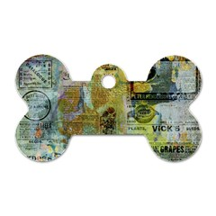Old Newspaper And Gold Acryl Painting Collage Dog Tag Bone (two Sides) by EDDArt