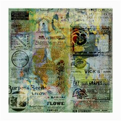 Old Newspaper And Gold Acryl Painting Collage Medium Glasses Cloth by EDDArt