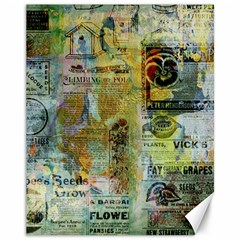 Old Newspaper And Gold Acryl Painting Collage Canvas 11  X 14   by EDDArt