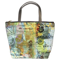 Old Newspaper And Gold Acryl Painting Collage Bucket Bags by EDDArt
