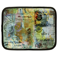 Old Newspaper And Gold Acryl Painting Collage Netbook Case (xl)  by EDDArt
