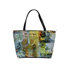 Old Newspaper And Gold Acryl Painting Collage Shoulder Handbags by EDDArt