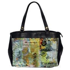 Old Newspaper And Gold Acryl Painting Collage Office Handbags (2 Sides)  by EDDArt