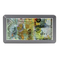 Old Newspaper And Gold Acryl Painting Collage Memory Card Reader (mini) by EDDArt