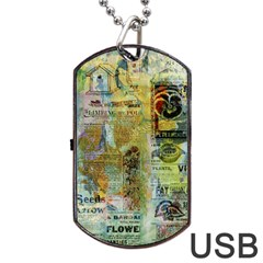 Old Newspaper And Gold Acryl Painting Collage Dog Tag Usb Flash (two Sides) by EDDArt