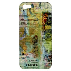 Old Newspaper And Gold Acryl Painting Collage Apple Iphone 5 Hardshell Case by EDDArt