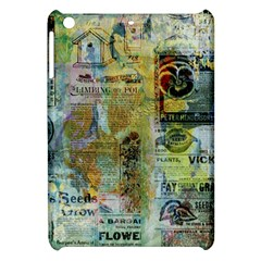 Old Newspaper And Gold Acryl Painting Collage Apple Ipad Mini Hardshell Case by EDDArt