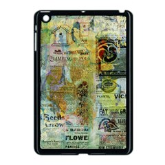 Old Newspaper And Gold Acryl Painting Collage Apple Ipad Mini Case (black) by EDDArt