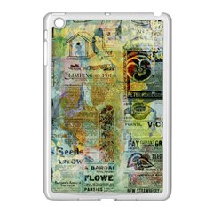 Old Newspaper And Gold Acryl Painting Collage Apple Ipad Mini Case (white) by EDDArt
