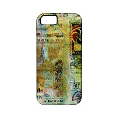 Old Newspaper And Gold Acryl Painting Collage Apple Iphone 5 Classic Hardshell Case (pc+silicone) by EDDArt