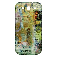 Old Newspaper And Gold Acryl Painting Collage Samsung Galaxy S3 S Iii Classic Hardshell Back Case by EDDArt