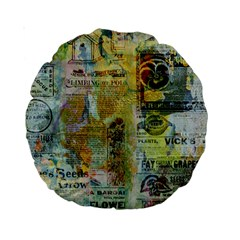 Old Newspaper And Gold Acryl Painting Collage Standard 15  Premium Round Cushions by EDDArt