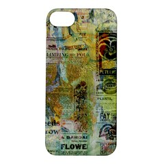 Old Newspaper And Gold Acryl Painting Collage Apple Iphone 5s/ Se Hardshell Case by EDDArt