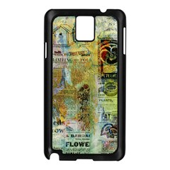 Old Newspaper And Gold Acryl Painting Collage Samsung Galaxy Note 3 N9005 Case (black) by EDDArt