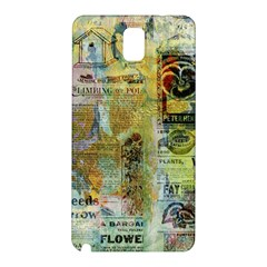 Old Newspaper And Gold Acryl Painting Collage Samsung Galaxy Note 3 N9005 Hardshell Back Case by EDDArt