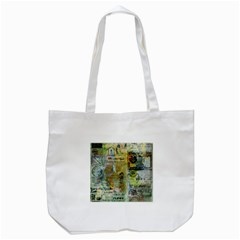 Old Newspaper And Gold Acryl Painting Collage Tote Bag (white) by EDDArt