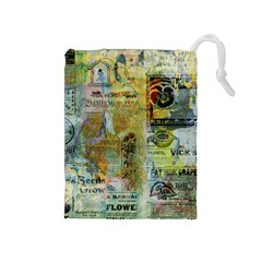 Old Newspaper And Gold Acryl Painting Collage Drawstring Pouches (medium)  by EDDArt