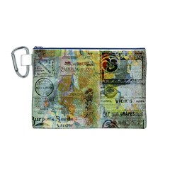 Old Newspaper And Gold Acryl Painting Collage Canvas Cosmetic Bag (m) by EDDArt