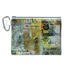 Old Newspaper And Gold Acryl Painting Collage Canvas Cosmetic Bag (l) by EDDArt