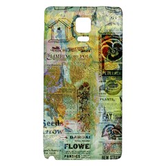 Old Newspaper And Gold Acryl Painting Collage Galaxy Note 4 Back Case by EDDArt