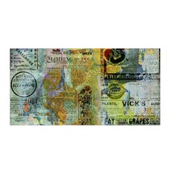 Old Newspaper And Gold Acryl Painting Collage Satin Wrap by EDDArt