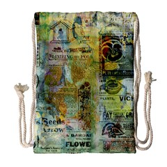 Old Newspaper And Gold Acryl Painting Collage Drawstring Bag (large) by EDDArt