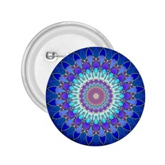 Power Flower Mandala   Blue Cyan Violet 2 25  Buttons by EDDArt