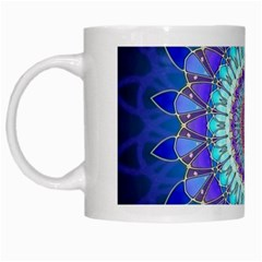 Power Flower Mandala   Blue Cyan Violet White Mugs by EDDArt