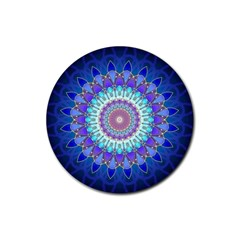 Power Flower Mandala   Blue Cyan Violet Rubber Round Coaster (4 Pack)  by EDDArt
