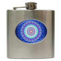 Power Flower Mandala   Blue Cyan Violet Hip Flask (6 Oz) by EDDArt