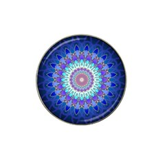 Power Flower Mandala   Blue Cyan Violet Hat Clip Ball Marker by EDDArt