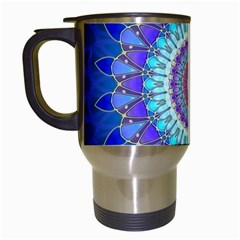 Power Flower Mandala   Blue Cyan Violet Travel Mugs (white) by EDDArt