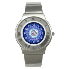 Power Flower Mandala   Blue Cyan Violet Stainless Steel Watch by EDDArt