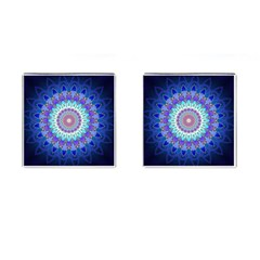 Power Flower Mandala   Blue Cyan Violet Cufflinks (square) by EDDArt