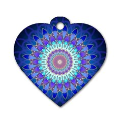 Power Flower Mandala   Blue Cyan Violet Dog Tag Heart (one Side) by EDDArt