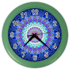 Power Flower Mandala   Blue Cyan Violet Color Wall Clocks by EDDArt