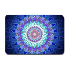 Power Flower Mandala   Blue Cyan Violet Small Doormat  by EDDArt