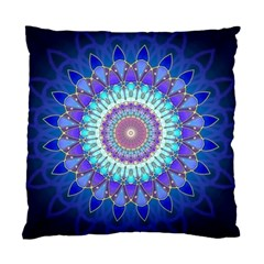 Power Flower Mandala   Blue Cyan Violet Standard Cushion Case (one Side) by EDDArt