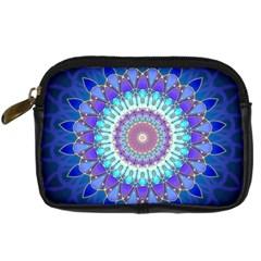 Power Flower Mandala   Blue Cyan Violet Digital Camera Cases by EDDArt