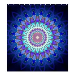 Power Flower Mandala   Blue Cyan Violet Shower Curtain 66  X 72  (large)  by EDDArt