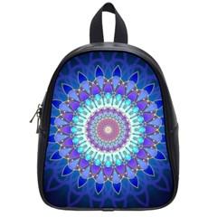 Power Flower Mandala   Blue Cyan Violet School Bags (small)  by EDDArt