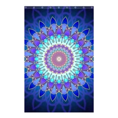 Power Flower Mandala   Blue Cyan Violet Shower Curtain 48  X 72  (small)  by EDDArt