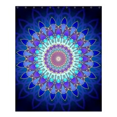 Power Flower Mandala   Blue Cyan Violet Shower Curtain 60  X 72  (medium)  by EDDArt