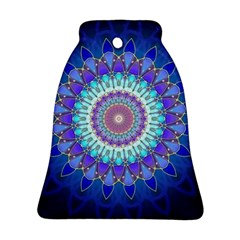 Power Flower Mandala   Blue Cyan Violet Bell Ornament (two Sides) by EDDArt