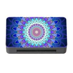 Power Flower Mandala   Blue Cyan Violet Memory Card Reader With Cf by EDDArt