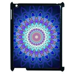 Power Flower Mandala   Blue Cyan Violet Apple Ipad 2 Case (black) by EDDArt