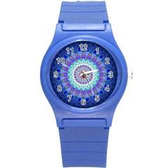 Power Flower Mandala   Blue Cyan Violet Round Plastic Sport Watch (s) by EDDArt