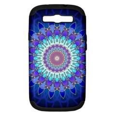 Power Flower Mandala   Blue Cyan Violet Samsung Galaxy S Iii Hardshell Case (pc+silicone) by EDDArt